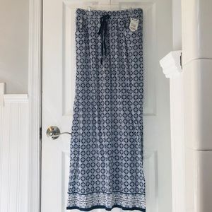 Blue and white patterned Maxi skirt